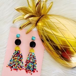 Beaded Tassel Multi-Color Stud Earrings